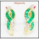 Diamond Jewelry 18K White Gold Emerald Snake Earrings [E0061]