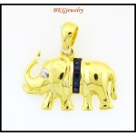 Natural Diamond Blue Sapphire Elephant Pendant 18K Yellow Gold [P0017]