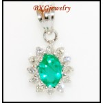 18K White Gold Solitaire Jewelry Emerald Diamond Pendant [P0026]