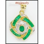 Emerald Circle Pendant Genuine Diamond 18K White Gold [P0092]