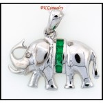 18K White Gold Natural Emerald Diamond Elephant Pendant [P0014]