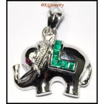 Emerald Diamond Elephant Pendant Gemstone 18K White Gold [P0146]