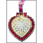 Eternity Ruby Heart Pendant Diamond 14K Yellow Gold [P_154]