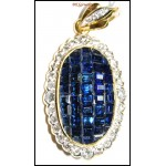 18K Yellow Gold Natural Diamond Blue Sapphire Brooch/Pendant [I_022]