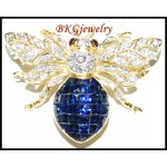 18K Yellow Gold Blue Sapphire Bee Brooch/Pin Diamond Jewelry [I_028]