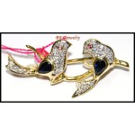 Eternity Diamond 18K Yellow Gold Blue Sapphire Bird Brooch/Pin [I_027]