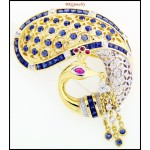 18K Yellow Gold Swan Brooch/Pin Natural Blue Sapphire Diamond [I001]