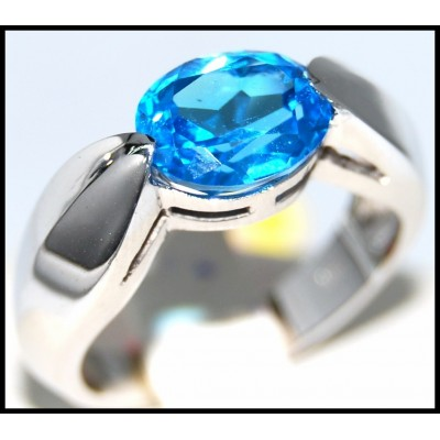 Unique Gemstone Blue Topaz Ring 14 Karat White Gold [RR0045]