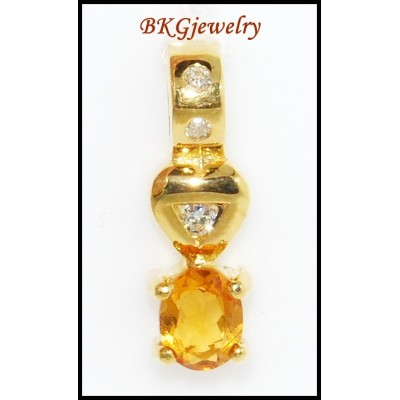 Diamond Citrine Pendant Jewelry Gemstone 18K Yellow Gold [P0059]