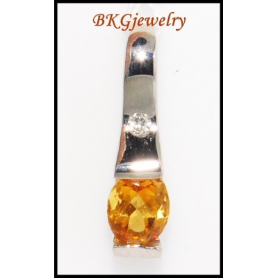 18K White Gold Genuine Diamond Citrine Gemstone Pendant [P0052]