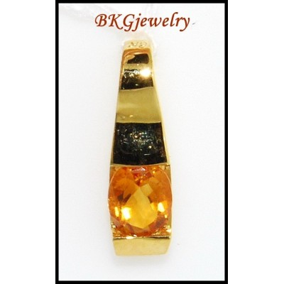 Citrine Gemstone Jewelry 18K Yellow Gold Solitaire Pendant [P0051]