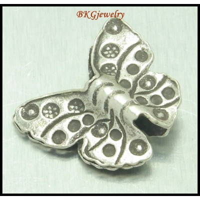 3x Butterfly Jewelry Findings Beads Karen Hill Tribe Silver  [KB007]