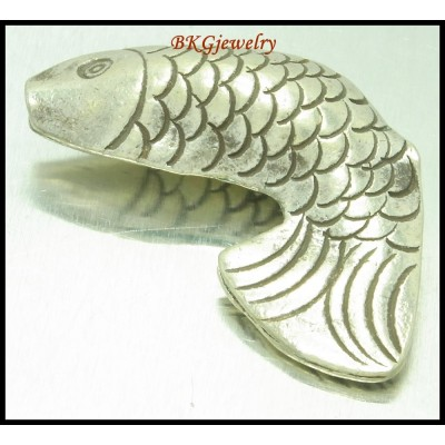 1x Jewelry Findings Hill Tribe Silver Fish Beads Wholesale [KB110]