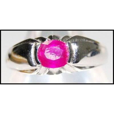 Pink Natural Oval Ruby Ring Unique 18K White Gold [RS0066]