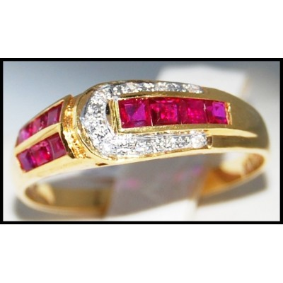 18K Yellow Gold Genuine Unique Ruby and Diamond Ring [R0018]