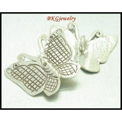 2x Hill Tribe Silver Butterfly Charm Jewelry Supply Wholesale [KC001]