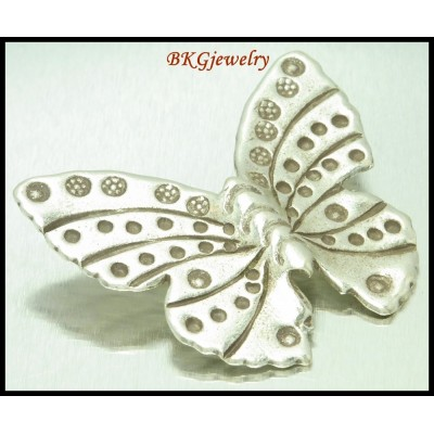 1x Karen Charms Hill Tribe Silver Jewelry Findings Butterfly [KC073]