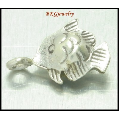 3x Fish Charms Wholesale Hill Tribe Silver Jewelry Supplies [KC023]