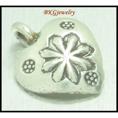 5x Hill Tribe Silver Heart Charms Wholesale Jewelry Findings [KC032]