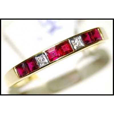 18K Yellow Gold Natural Unique Ruby and Diamond Band Ring [R0025]