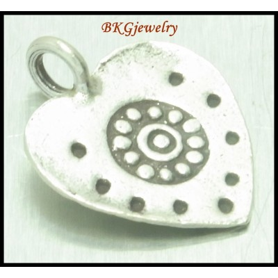 5x Jewelry Supplies Wholesale Hill Tribe Silver Heart Charms [KC031]