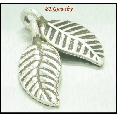 5x Jewelry Supplies Wholesale Hill Tribe Silver Leaf Charms [KC004]