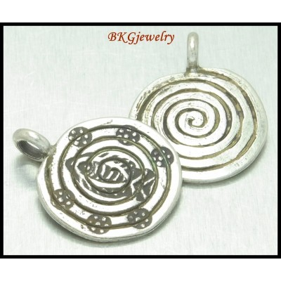 3x Wholesale Hill Tribe Silver Charm Engrave Jewelry Findings [KC016]