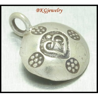 3x Hill Tribe Silver Heart Engrave Jewelry Findings Charms [KC020]