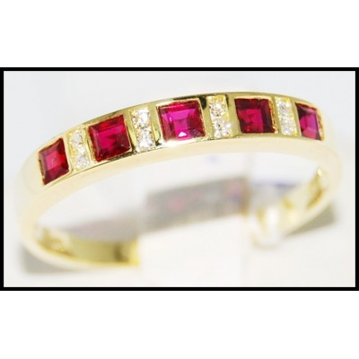 Natural Ruby and Diamond Band Ring Unique 18K Yellow Gold [R0031]