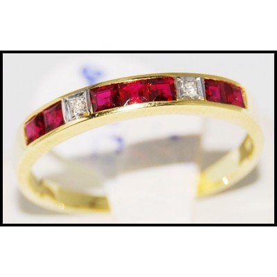 Genuine Ruby and Diamond Ring Unique 18K Yellow Gold [R0033]