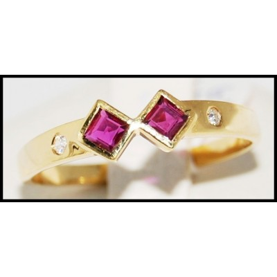18K Yellow Gold Couple Unique Ruby and Diamond Ring [R0034]