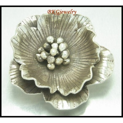 1x Large Flower Pendant Hill Tribe Silver Jewelry Supplies [KP011]