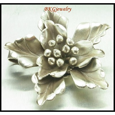 1x Flower Pendant Jewelry Supply Wholesale Hill Tribe Silver [KP019]