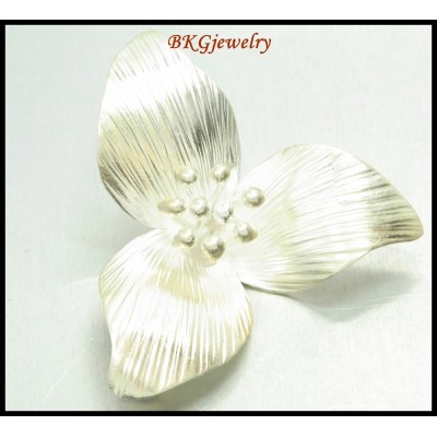 1x Jewelry Findings Karen Hill Tribe Silver Pendant Flower [KP030]
