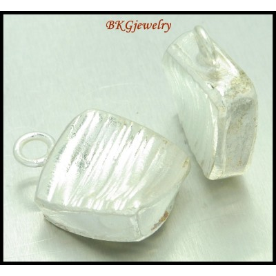 1x Wholesale Hill Tribe Silver Square Pendant Jewelry Finding [KP006]