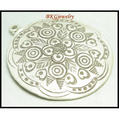 1x Hill Tribe Silver Karen Engrave Pendant Jewelry Supplies [KP024]