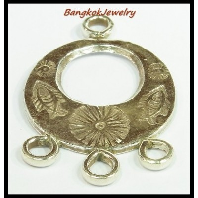 1x Jewelry Supplies Wholesale Fish Engrave Hill Tribe Silver [KH014]