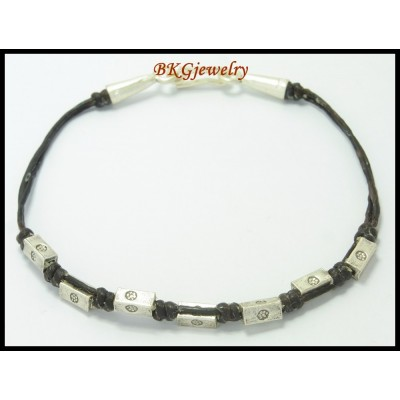 Waxed Cotton Cord Bead Hill Tribe Silver Bracelet Handcrafted [KH025]