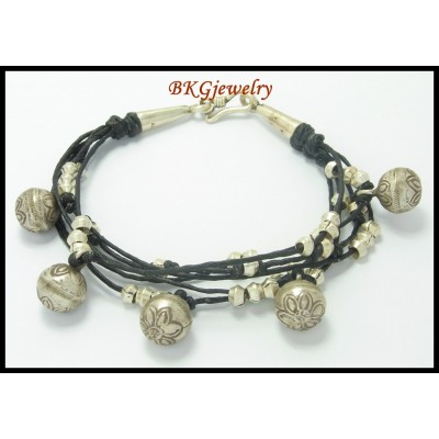 Jewelry Bracelet Hill Tribe Silver Handmade Waxed Cotton Cord [KH028]