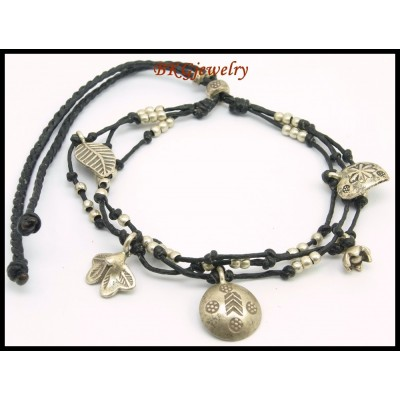 Hill Tribe Silver Waxed Cotton Cord Charms Bracelet Jewelry [KH029]
