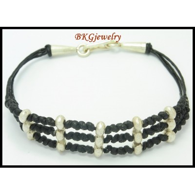 Waxed Cotton Cord Bracelet Handmade Bead Hill Tribe Silver [KH032]