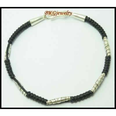 Hill Tribe Silver Handmade Waxed Cotton Cord Bead Bracelet [KH044]