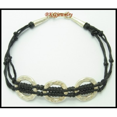 Hill Tribe Silver Bead Waxed Cotton Cord Handcrafted Bracelet [KH077]