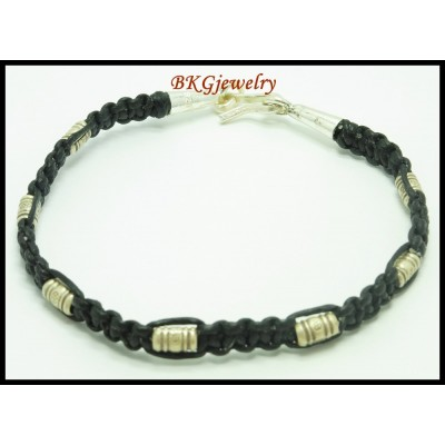 Handmade Bracelet Hill Tribe Silver Waxed Cotton Cord Jewelry [KH106]