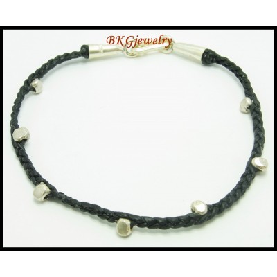 Waxed Cotton Cord Handcraft Bracelet Bead Hill Tribe Silver [KH109]