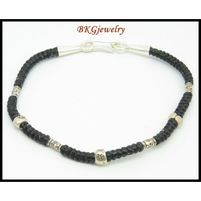 Handcrafted Bracelet Waxed Cotton Cord Hill Tribe Silver Bead [KH137]