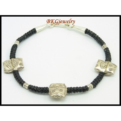 Waxed Cotton Cord Hill Tribe Silver Bracelet Handmade Bead [KH144]