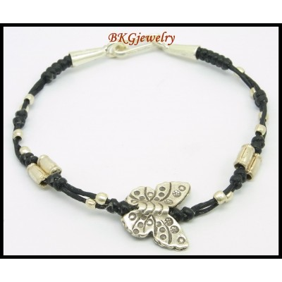 Waxed Cotton Cord Bracelet Hill Tribe Silver Butterfly Bead [KH146]