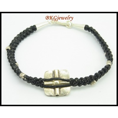 Hill Tribe Silver Waxed Cotton Cord Jewelry Handmade Bracelet [KH147]