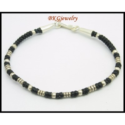 Hill Tribe Silver Waxed Cotton Cord Jewelry Handmade Bracelet [KH148]